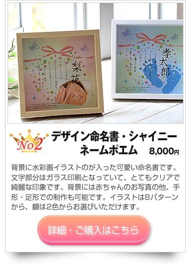 出産お祝いのプレゼントにデザイン命名書・シャイニー 〜ネームポエム〜【いろは屋】