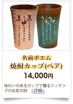 10,000円から15,000円までの予算 人気の名前の詩 名前ポエム焼酎カップ(ペア)