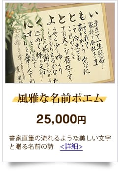 23,001円から26,000円までの予算 人気の名前の詩 風雅な名前ポエム
