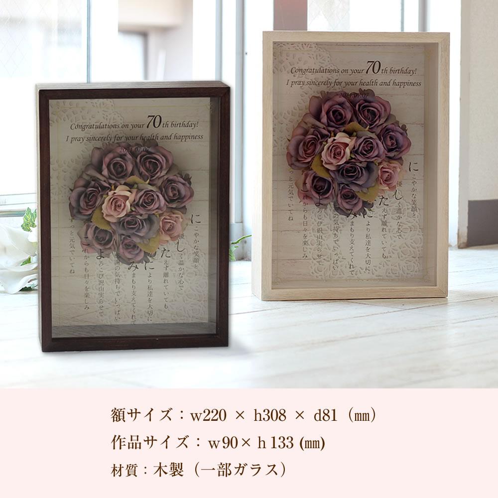 古希・喜寿・傘寿に贈る ロイヤルフラワーボックス〜ネームポエム〜 サイズ