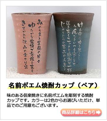 退職に贈る名前ポエム・お客様事例 名前ポエム焼酎カップ(ペア)