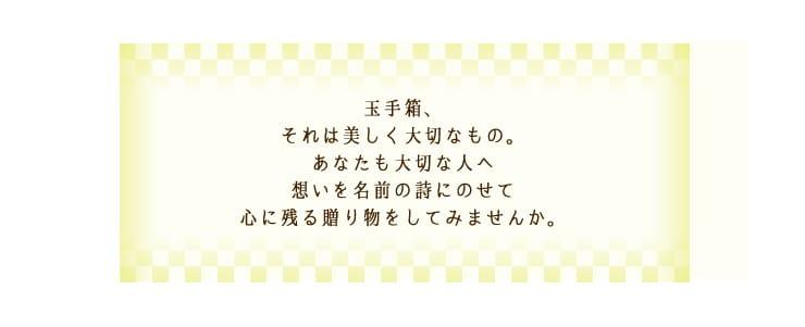玉手箱〜名前の詩〜 メッセージ