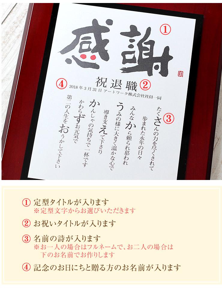 表彰盾の名前ポエム(木製額)〜心の文字〜商品詳細