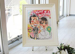 結婚祝いの似顔絵ウェルカムボード大(ホワイト)