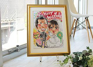 結婚祝いの似顔絵ウェルカムボード大(ゴールド)